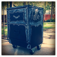 Vintage Recycled Chalkboard Night Stand by curioaustin on Etsy