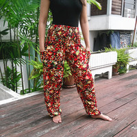 High Waist Colorful Yoga Pants Harem Boho Printed Beach Hippie Massage Rayon pants Gypsy Thailand Women Tribal Plus Size Hippie Skirt Dress