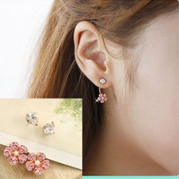 Pink Diamond Flower Wrapping Ear Earrings