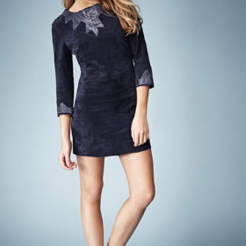 **SNAKE TRIM SUEDE DRESS BY KATE MOSS FOR TOPSHOP