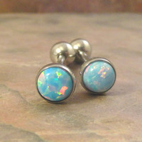 Light Blue and Pink Fire Opal Tongue Barbell Piercing