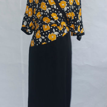 80's Louis Féraud Neiman Marcus Two Tone Dress Vintage. Small