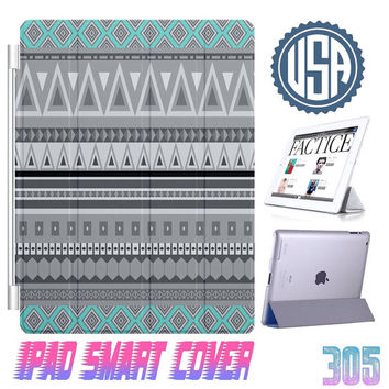 Aztec Print Mint IPad Air Smart Cover , IPad Mini Smart Cover  IPad 4 Case , IPad 3 2 IPhone 5 5S iPhone 4 4S Magnetic Sleep Wake Case 305
