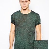 ASOS T-Shirt With Two Tone Burn Wash at asos.com