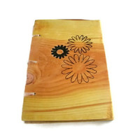 Daisy Flower Notebook Journal Wood Burnt by BillsWoodenPleasures