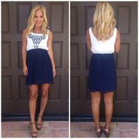 Four Winds Two Tone Tribal Embroidered Dress - NAVY