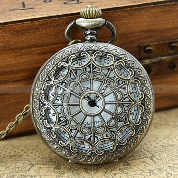 Vintage pocket watch necklace with antique bronze by luckyvicky