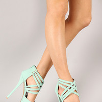 Qupid Pinch-16 Nubuck Perforated Stiletto Platform Heel