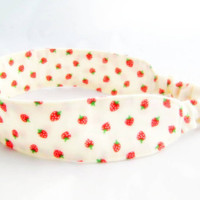 Strawberry Shortcake Fabric Headband Red by NewEnglandQuilter