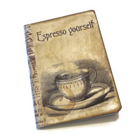Coffee Journal, Coffee Notebook, Express Yourself Journal, Vintage Coffee Cup, Gift for Coffee Lovers