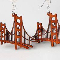 Golden Gate Bridge Laser Cut Wood Earrings by GreenTreeJewelry