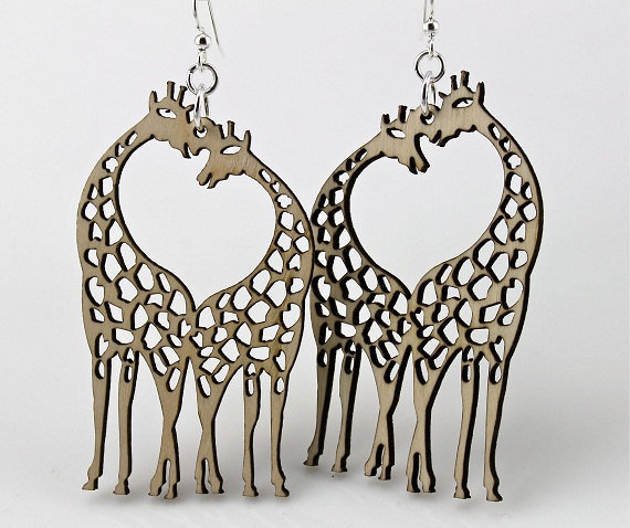Giraffes with Heart in the middle Wood by GreenTreeJewelry