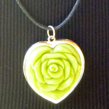 Green heart shaped rose necklace with cord chain