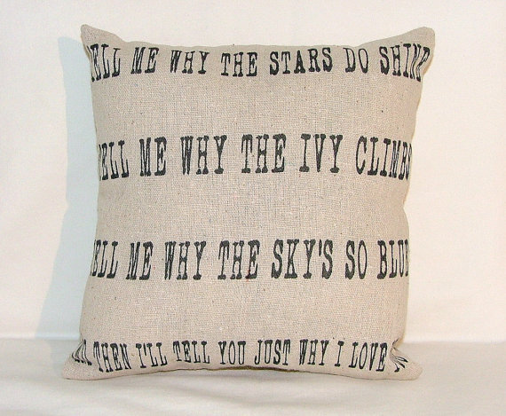 Tell me why the stars do shine pillow by cayteelynn on Etsy