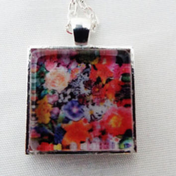 Hand Crafted Multi-Color Flower Square Pendant Necklace