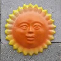 12 inch cement yellow orange garden sunface decoration