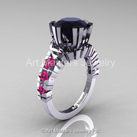 Modern 14K White Gold 3.0 Ct Black Diamond Pink Sapphire Solitaire Wedding Anniversary Ring R325-14KWGPSBD