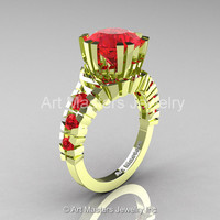 Modern 18K Green Gold 3.0 Ct Rubies Solitaire Wedding Anniversary Ring R325-18KGGR
