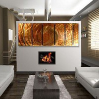 "All My Walls Abstract by Ash Carl Metal Wall Art in Burnt Orange - 23.5"" x 60"" - SWS00020 - Decor"