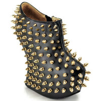 Jeffrey Campbell - Shadow - Black Leather Spiked Wedge     at Footnotesonline Women's Designer Shoes