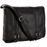 Latico Heritage Collection Double Buckle Messenger,Black,one size