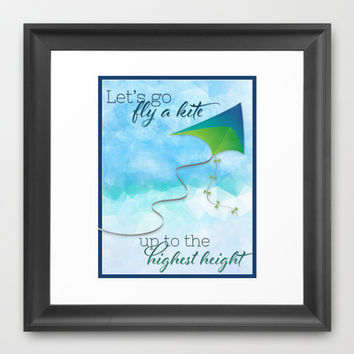 Let's Go Fly a Kite! Framed Art Print by Noonday Design | Society6