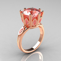 Classic 14K Rose Gold Marquise and 5.0 CT Round  Morganite Solitaire Ring R160-14KRGMO