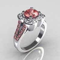 Classic 10K White Gold 1.0 Carat Morganite Diamond Celebrity Fashion Engagement Ring R104-10KWGDMO