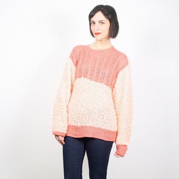 Vintage Peach Sweater 1980s 80s Sweater Cosby Sweater Nubby Knit Textured Knit Pointelle Jumper Pullover New Wave Pink L Extra Large XL