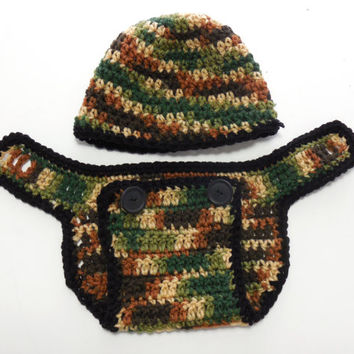 Brown and Green Camo Crochet Diaper Cover and Beanie, Newborn Camouflage, Photo Prop