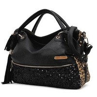 KERAL Korean Stylish Trendy Rivet Fringed Big Shoulder Bag Tote Purse Handbags