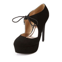 TIED MARY JANE PLATFORM PUMPS