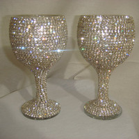 Custom designed handmade pair of wine glasses with Czech by Arzus