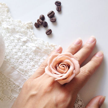 Coffee rose ring, rustic jewelry, coffee flower, coffee and milk, rose jewelry, polymer clay jewelry, polymer clay ring, rustic jewelry ring