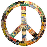 RECYCLED LICENSE PLATE PEACE SIGN | Peace, Peace Symbol, License Plate, Aaron Foster | UncommonGoods