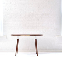 Handmade Walnut Dining Table - Midcentury Modern Oval Table