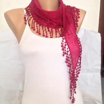 Bright Red Scarf - Red Lace Cotton Scarf - Fringe Sumer Scarf - Elegant Scarf