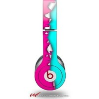 Ripped Colors Hot Pink Neon Teal Decal Style Skin (fits genuine Beats Solo HD Headphones - HEADPHONES NOT INCLUDED