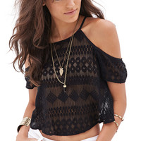 FOREVER 21 Open-Shoulder Lace Halter Top Black