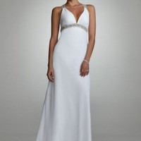 David&#x27;s Bridal Wedding Dress: Beaded Tank Gown with Back Detail Style D0216