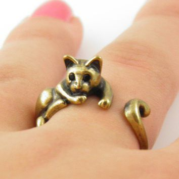 Gold Lazy Cat Wrap Ring | KejaJewelry - Jewelry on ArtFire