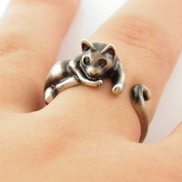 Silver Lazy Cat Wrap Ring | KejaJewelry - Jewelry on ArtFire