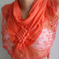 Salmon Pink Elegance Shawl / Scarf with Lacy Edge by womann,