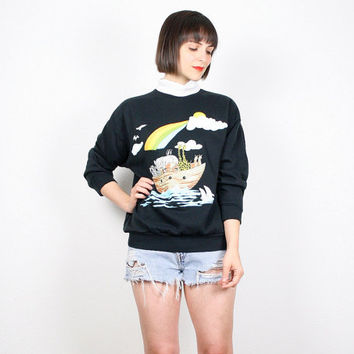 Vintage 80s Sweatshirt Black Noahs Ark Print Sweater Screen Novelty Print T Church Lady Jumper Ugly Sweater Party Cartoon Jumper M Medium