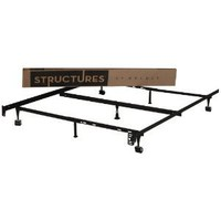 STRUCTURES by Malouf Heavy Duty 7-Leg LINENSPA Adjustable Metal Bed Frame with Center Support and Rug Rollers - (Queen, Full XL, Full, Twin XL, Twin)
