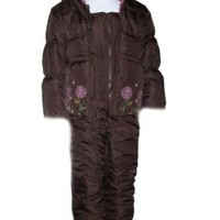 Platinum Puffer Girls Snowsuit Set, Ski Coat Jacket and Ski Bibs, Embroidered details, Hot Pink Or Brown, Size 4 Snow Suit