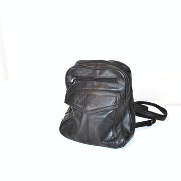 leather backpack / small black slouchy GRUNGE book bag