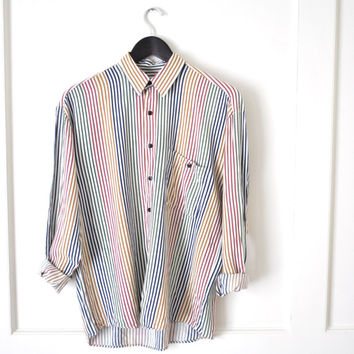 verticle striped minimalist relaxed fit collared shirt / unisex men women medium