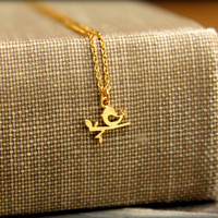 Tiny Bird on a Branch Necklace, Available in Silver or Gold