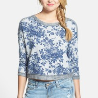 Lush Colorblock Floral Print Sweatshirt (Juniors)